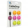 6x Bluelounge CableDrop Kabel-Clips in orange, pink, grün