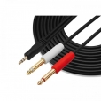 SYSTEM-S 3.5mm Klinke AUX TRS (male) auf Dual 6.35 mm Mono Stecker Stereo Audio Splitter Kabel