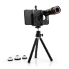 System-S 4 in 1 Camera Lens Travel Set Telephoto FishEye WideAngle Micro Lens and Mini Tripod for iPhone 4 4s