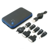 System-S rechargeable battery power bank charging pack 6000mAh with dual USB charging ports and adapters for smartphones